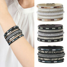 Vintage Bracelet Charms Wide Leather Bangle Crystal Wide Charms Women Girls