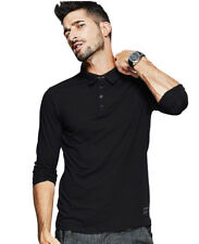 Classic Mens Polo Shirts Long Sleeve Cotton Lapel Solid Casual T-shirts M-XXL