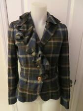 WOMENS MOSCHINO CHEAP AND CHIC BLACK, BLUE, BROWN PLAID 3 BUTTON BLAZER SIZE 8