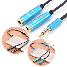 3.5mm jack stereo headphone+mic audio splitter aux extension adapter cable FT