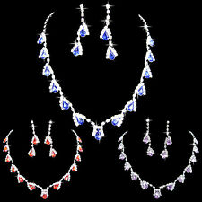HH- Women Dazzling Cubic Zirconia Necklace Crystal Pendant Earrings Bridal Popul