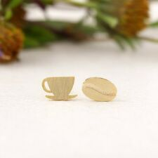 Rose Silver Gold Plated Coffee Bean & Cup Mug Earrings Studs in Gift Bag/Box