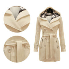 Ladies Belted Jacket Coat Military Button Hooded Fleece Womens