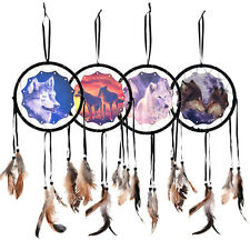 Handmade Dream Catcher With Feathers Wall Hanging Decoration Ornament-Wolf F-T