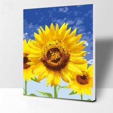 """16X20""""Paint By Number Watercolor Sunflowers DIY Kit Acrylic Painting Canvas 2381"""