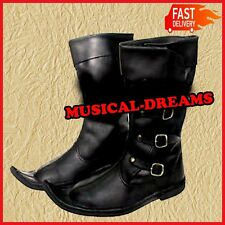 Antiques Gift Leather Boot Black Re-enactment Shoe Larp Roleplay Costume