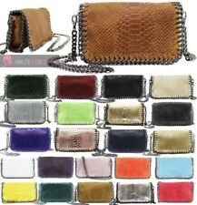 WOMENS NEW REAL LEATHER MOCK CROC SNAKESKIN CHAIN TRIM PARTY HANDBAG PURSE