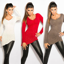 PULL FEMME ASYMETRIQUE AVEC STRASS NEUF SOUS EMBALLAGE TAILLE TU 34 36 38 mode