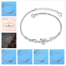 HOT Women 925 Sterling Silver Crystal Chain Bangle Cuff Charm Bracelet Jewelry 1