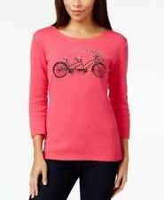 NWT Karen Scott Women's 3/4 Sleeve Pullover Embellished Top Pink Twist Variety