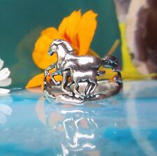 Ring Horse Two Horse Foal Playing Herd Sterling Silver 925 Plastic