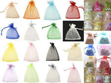 100xLARGE QUALITY ORGANZA COLORS POUCH Wedding FAVOUR BAGS Gift 7x 9cm Size New