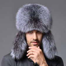 New Mens Womens Real Silver Fox Fur Russian Winter Bomber Outdoor Hat