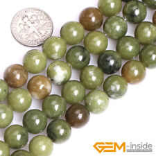 Natural Green Canada Jade Gemstone Round Loose Spacer Beads For Jewelry Making