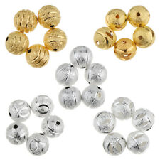 50Pcs Vintage Flower Copper Round Loose Beads DIY 10mm Beads Jewelry Making