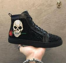 New Mens Skull Rose Punk High Lace-Up Sneakers Ankle Boots Rivets Sports Shoes