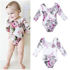 Kids Baby Girls Flowers Long Sleeve Romper Toddler Bodysuit Jumpsuit Outfits Top