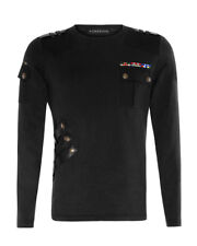 Top black long sleeves casual military Punk Rave gothic Punk Rave