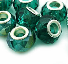 Silver & Green Authentic Murano Glass Facet Crystal Beads 4 Big Hole Bracelet