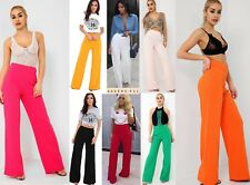 Ladies Womens High Waisted Wide Leg Flared Full Length Palazzo Trouser UK 6-14