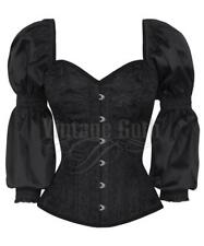 Top corset black with sleeves puff and whales steel, vintage victorian