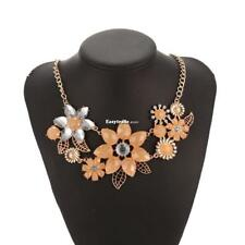 Women Fashion Crystal Rhinestone Flower Pendent Necklace Link Chain ESY1 01