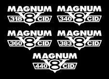 2 MAGNUM V8 DECALS 318-340-360-383-440 CID EMBLEMS 4X4 RAM STICKERS