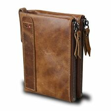 Small Vintage Crazy Horse Leather RFID Blocking Wallet Short Purse Bifold with