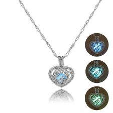Luminous Glow In The Dark Hollow Silver Love Heart Pendant Necklace Jewelry Gift