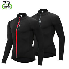 Mens Windproof Cycling Jacket Thermal Fleece Winter Bike Wear Slim Close Fitting