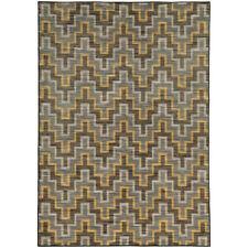 Gray Contemporary Machine Made Angles Lines Ridges Area Rug All-Over 46248