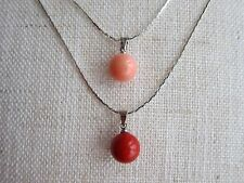 Genuine Red  Pink or Orange Coral Pendant on Silver Plated Chain Necklace.
