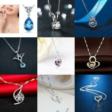 Women Jewelry Crystal Silver Plated Charm Necklace Inlay Necklace Pendant Chain