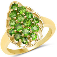 14K Yellow Gold Plated 1.71 Ct Genuine Chrome Diopside 925 Sterling Silver Ring
