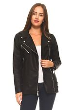BCBG Moto Faux Leather Jacket with Zippers and Buckles