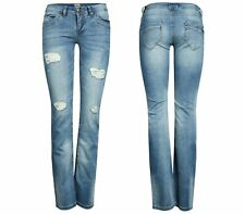 NEW Only Ladies Denim Hip Jeans Trousers Straight Low Car Destroy