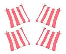 Set of 4 Indoor / Outdoor Pink Stripe Tufted Patio Chair Cushions, Choose Size