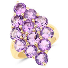 14K Yellow Gold Plated 6.78 Ct Genuine Amethyst 925 Sterling Silver Cluster Ring