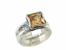 Designed 925 Sterling Silver Ring Shablool solitaire orange Champagne CZ