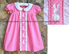 Smocked A Lot Girls Easter Bunny Dress Ruffle Collar Pink Polka Dot Fluffy Tails