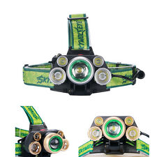 CREE 5X T6 LED USB Headlight 80000 LM 2X18650 Battery Zoomable Fishing Lamp TH
