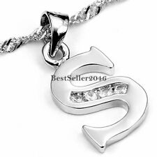 Fashion Silver Tone Alphabet Initial Capital Letter A-Z Pendant Necklace w Chain