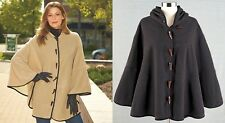 Women's Fleece Batwing Hooded Cape Poncho Toggles Coat Jacket CAMEL or CHARCOAL
