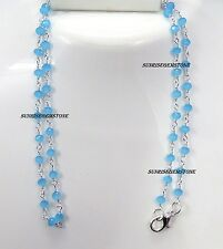 Sea Blue Chalcedony Faceted Rondelle Beads Rosary Wire Wrapped Chain Necklace.