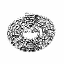 Silver Stainless Steel 2mm / 2.4mm Ball and Oval Bead Chain Men Women's Necklace
