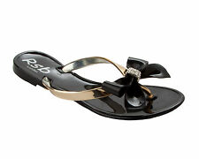 GIRLS BLACK DIAMANTE JELLY TOE POST SUMMER HOLIDAY FLIP FLOP SANDALS SIZE 12-4