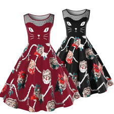 Womens Ladies 1950's Retro Vintage Rockabilly Cat Print Pin Up Party Swing Dress