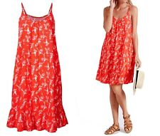 NEW EX M&S LADIES CORAL PARROT STRAPPY SUMMER SUN BEACH DRESS UK SIZE 8 16 18 22