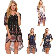 Women Casual Short Sleeve Floral Print V Neck Pullover Asymmetrical EN24H 01
