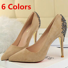 Classic Womens Pumps Pointed Toe Crystal Suede High Heels Wedding Office Shoes